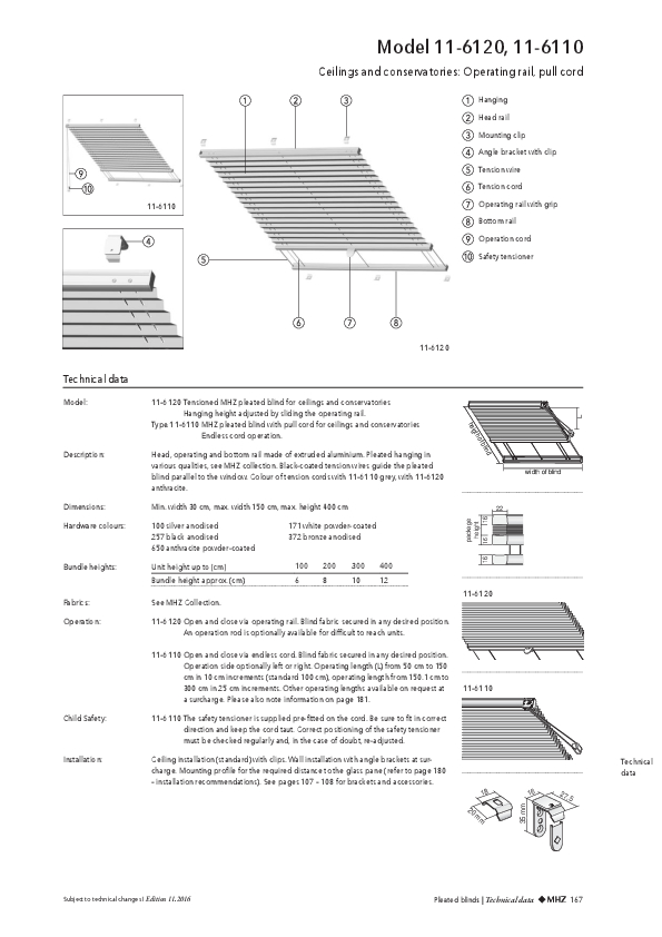 Technical information pleated blinds ceilings and conservatories
