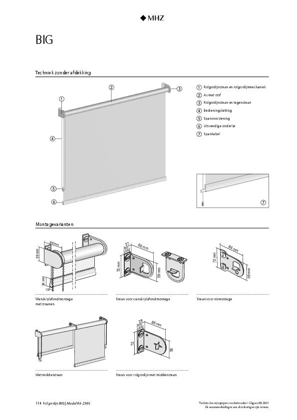 Technische informatie rolgordijn BIG