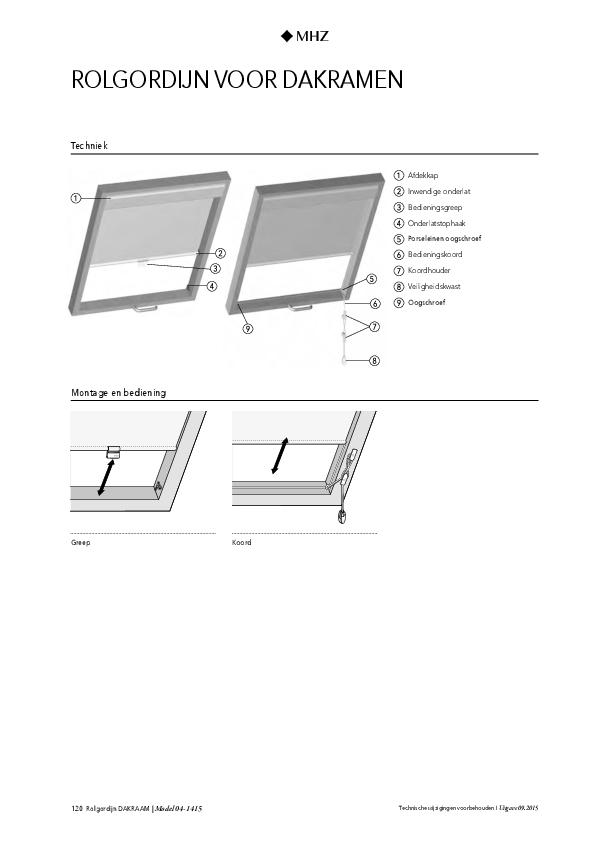 Technische informatie rolgordijn voor dakramen