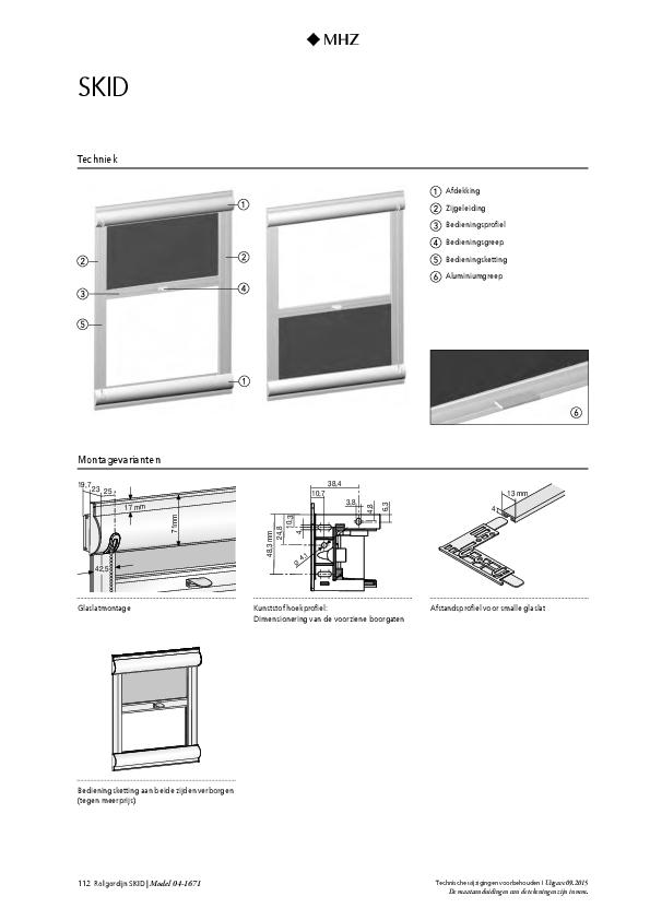 Technische informatie rolgordijn SKID