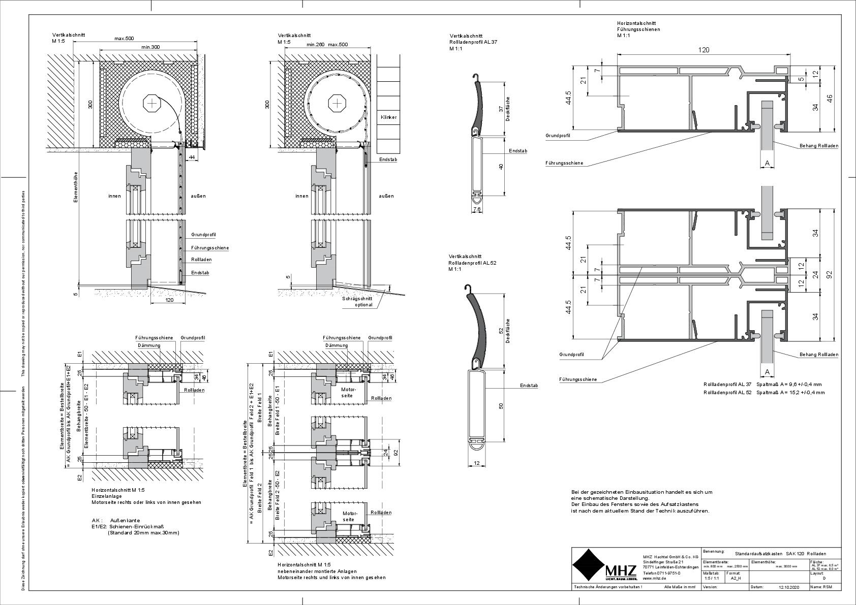 Technische Zeichnung Aufsatzkasten SAK_120 Rollladen (dwg)