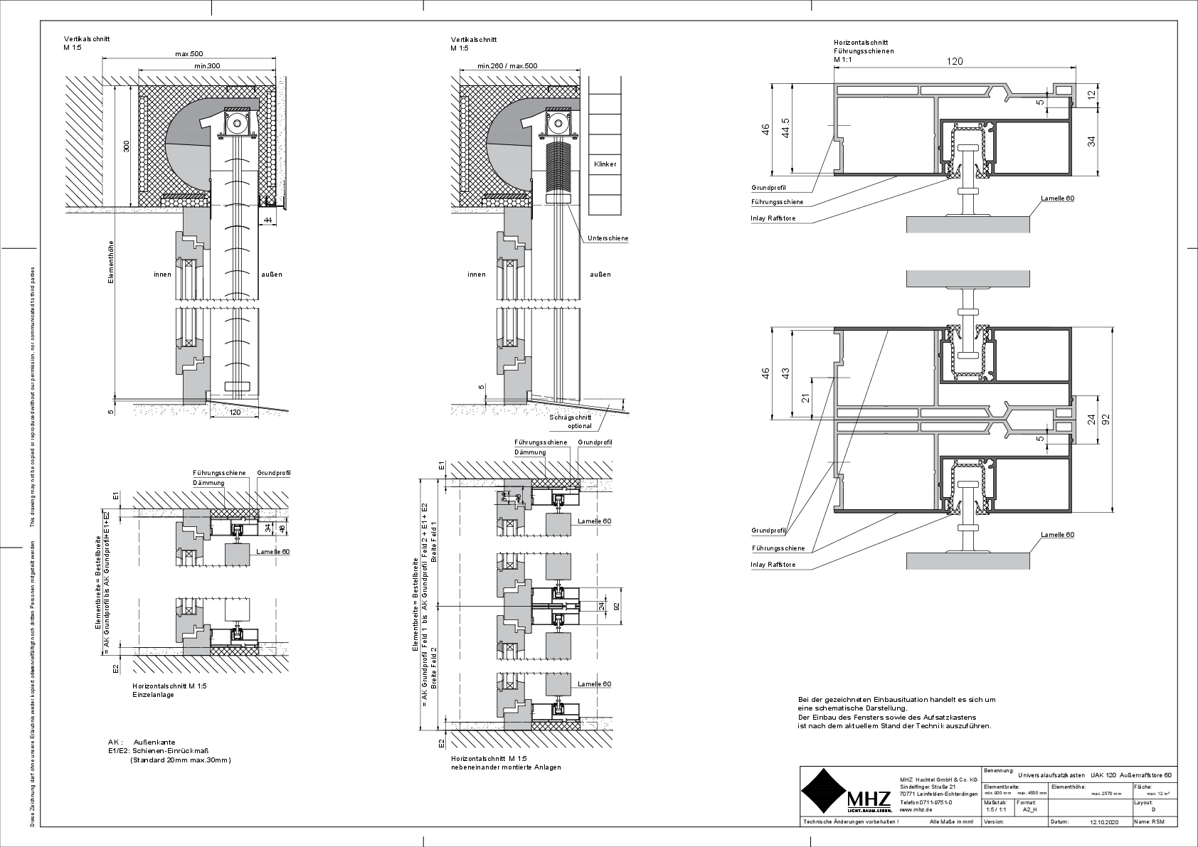 Technische Zeichnung Aufsatzkasten UAK_120 Außenraffstore 60 (dwg)