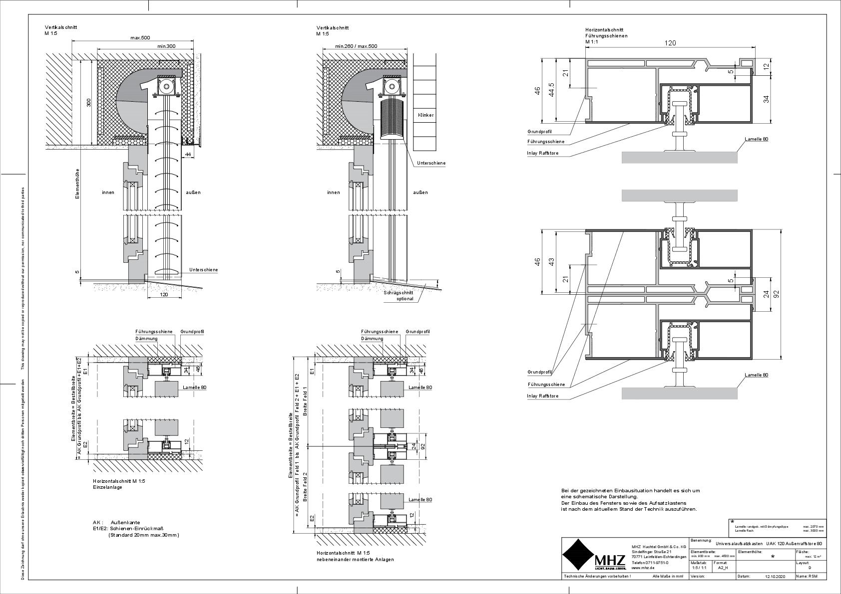 Technische Zeichnung Aufsatzkasten UAK_120 Außenraffstore 80 (dwg)