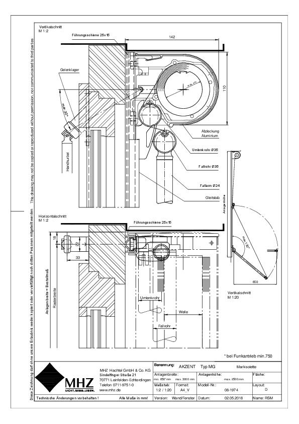 Technische Zeichnung dwg Fenstermarkise AKZENT MG