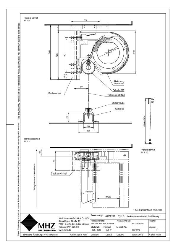 Technische Zeichnung Fenstermarkise AKZENT S(dwg)