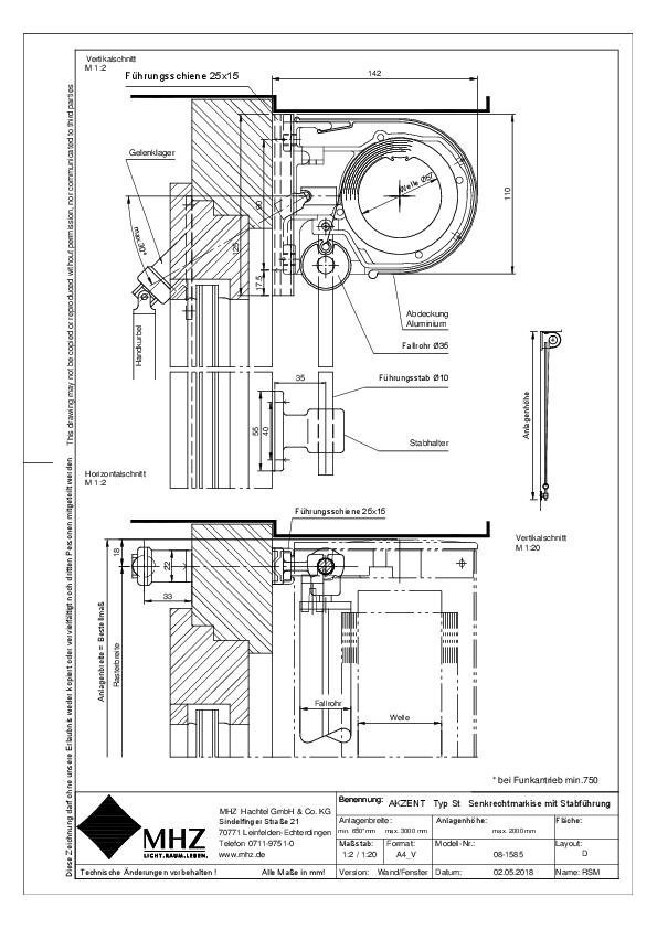 Technische Zeichnung Fenstermarkise AKZENT ST (dwg)