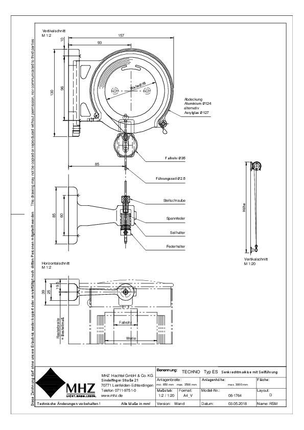 Technische Zeichnung Edelstahl-Fassadenmarkise TECHNO ES (dwg)