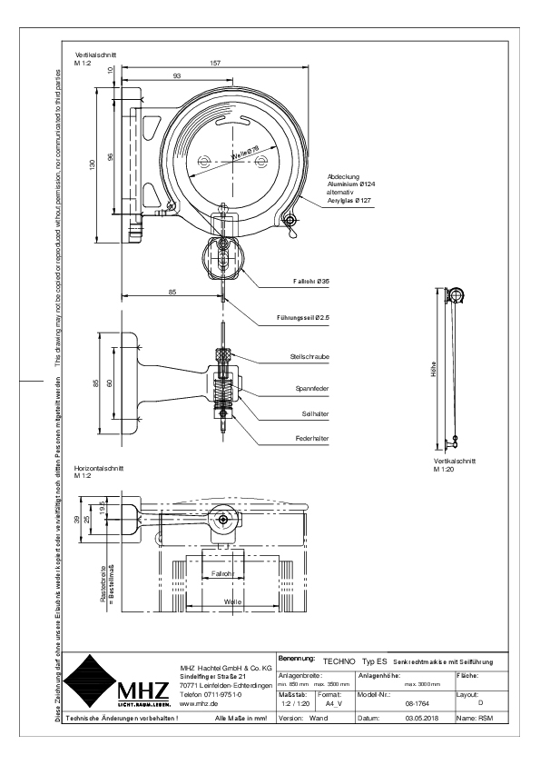 Technische Zeichnung dwg Edelstahl-Fassadenmarkise TECHNO ES