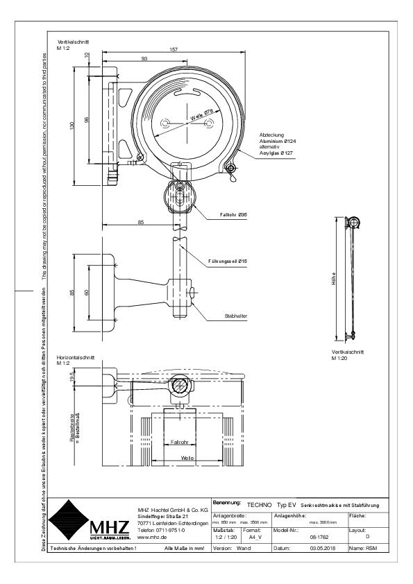 Technische Zeichnung dwg Edelstahl-Fassadenmarkise TECHNO EV
