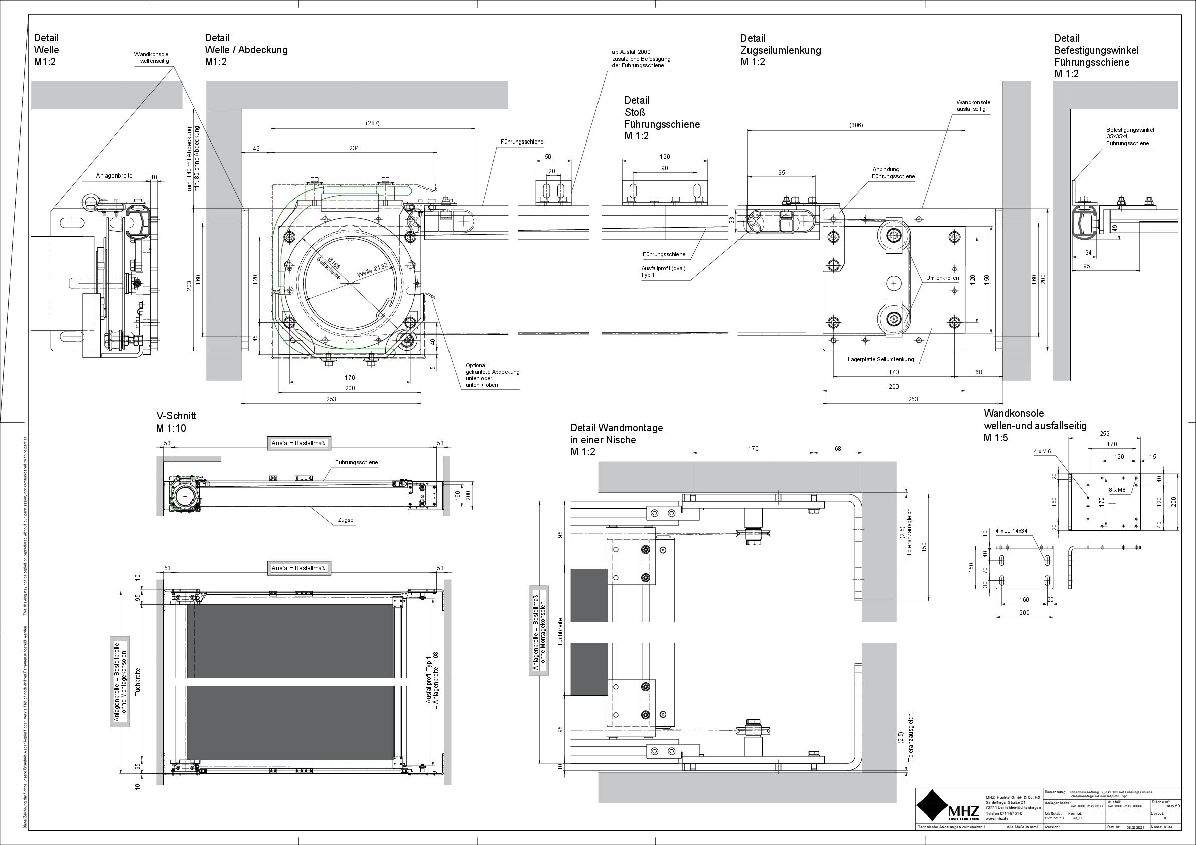 Technische Zeichnung dwg Beschattung k_oax 132 Führungsschiene