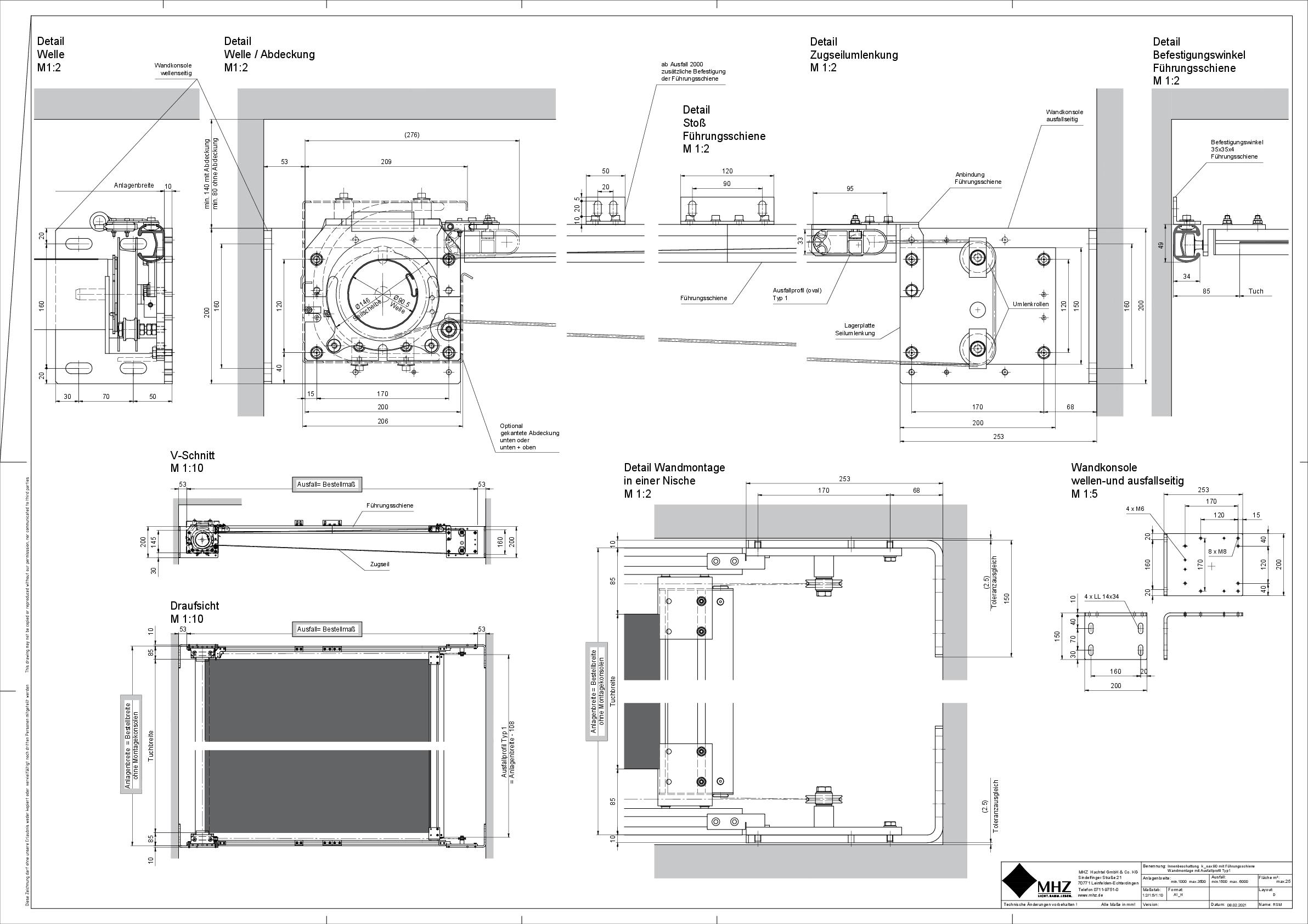 Technische Zeichnung dwg Beschattung k_oax 90 Seilführung
