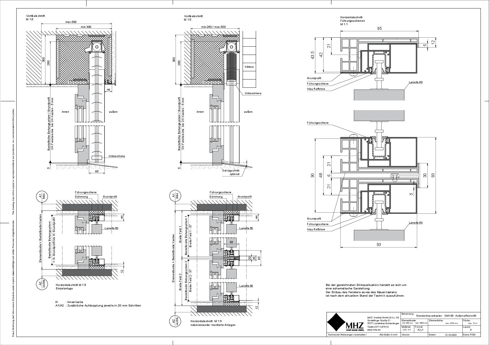 Technische Zeichnung Mauerkasten SMK_95 Außenraffstore 60 (dwg)