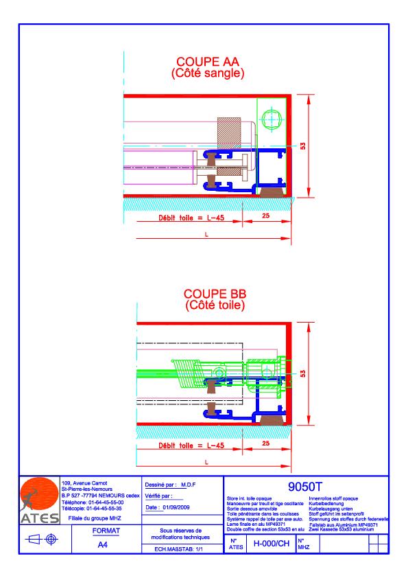 Schémas techniques stores coffre Série 9000 (zip)