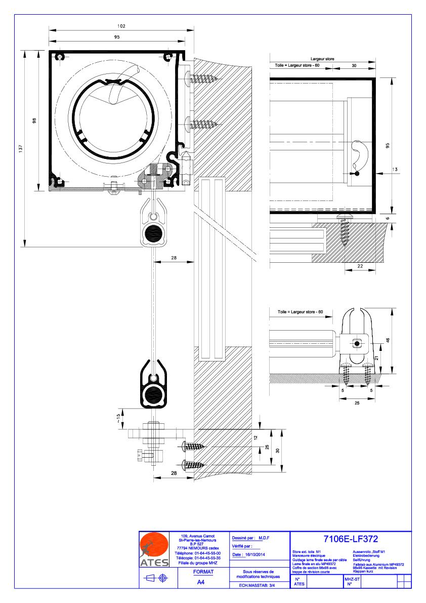 Schémas techniques stores coffre Série 7000