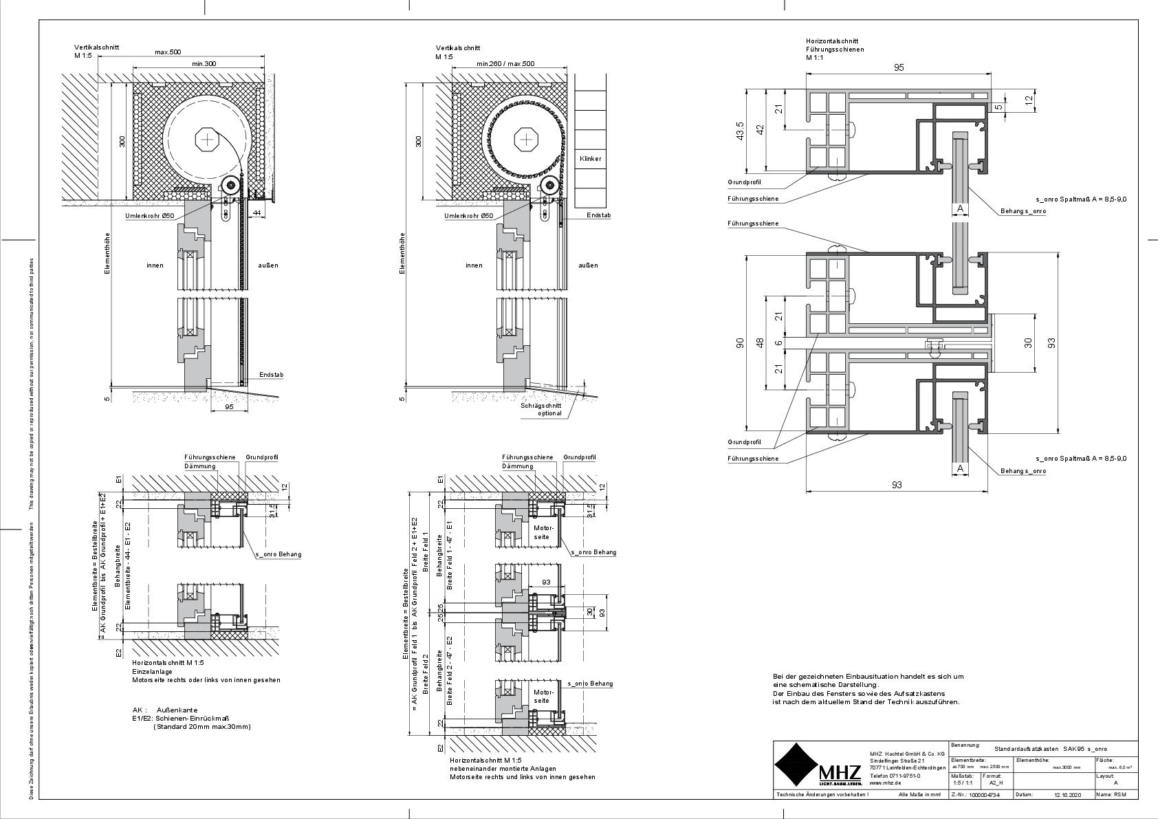 Technische Zeichnung Aufsatzkasten SAK_95 s_onro (pdf)