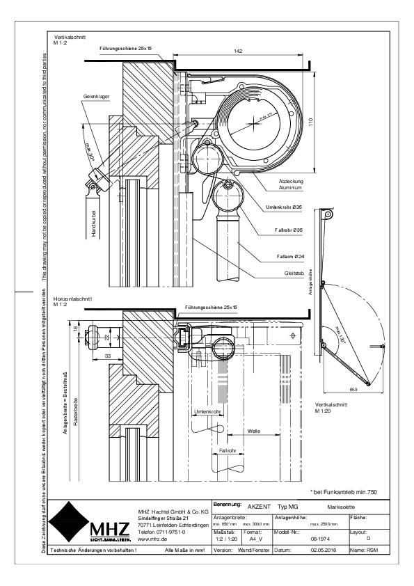 Technische Zeichnung Fenstermarkisen AKZENT MG Wand/Fenster (pdf)