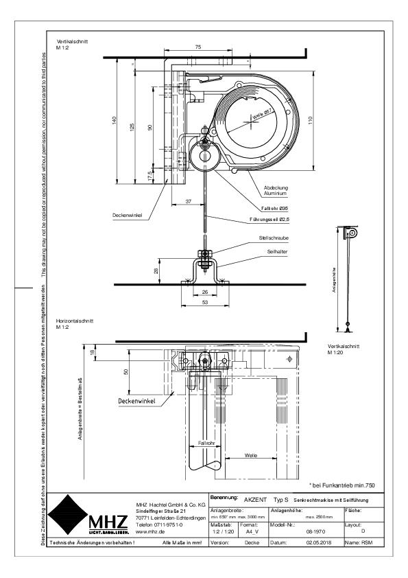 Technische Zeichnung Fenstermarkisen AKZENT S Decke (pdf)