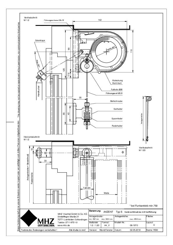 Technische Zeichnung Fenstermarkisen AKZENT S Wand/Fenster (pdf)