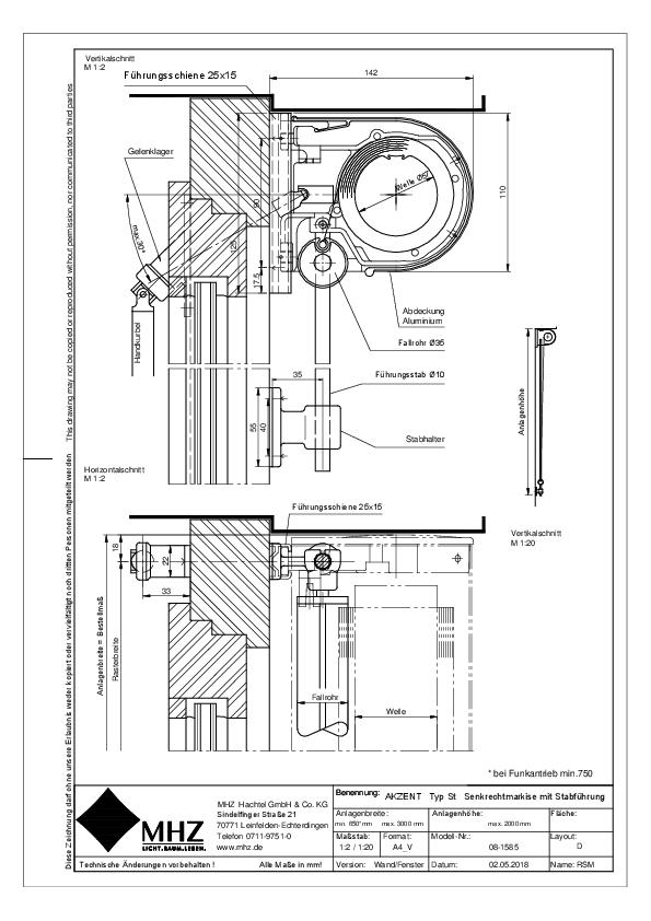 Technische Zeichnung Fenstermarkisen AKZENT ST Wand/Fenster (pdf)