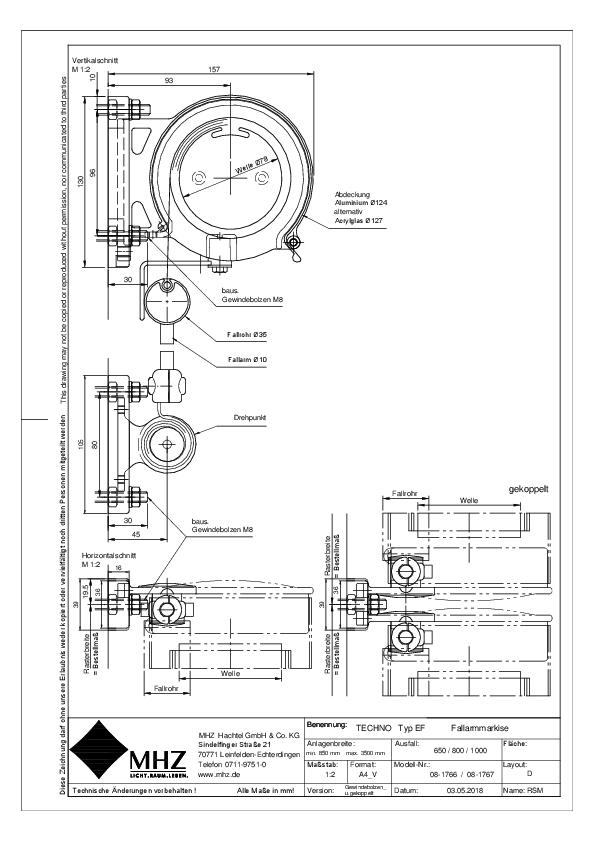 Technische Zeichnung Edelstahl-Fassadenmarkisen TECHNO EF gekoppelt (pdf)