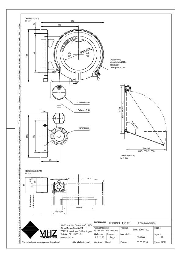 Technische Zeichnung Edelstahl-Fassadenmarkisen TECHNO EF Wand (pdf)