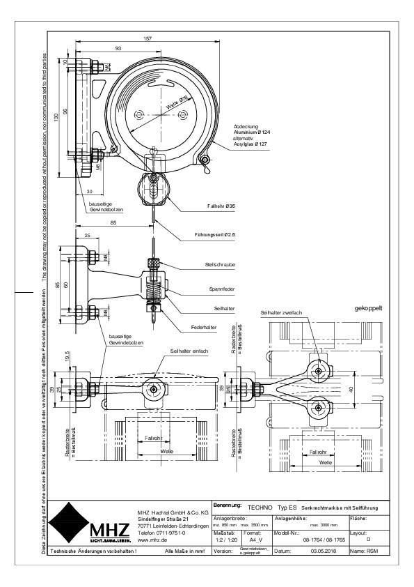 Technische Zeichnung Edelstahl-Fassadenmarkisen TECHNO ES gekoppelt (pdf)