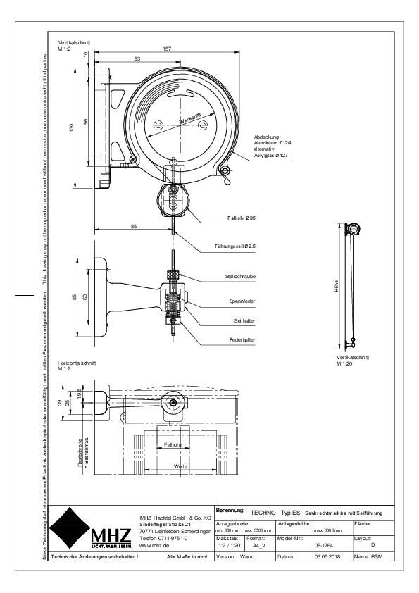 Technische Zeichnung Edelstahl-Fassadenmarkisen TECHNO ES Wand (pdf)