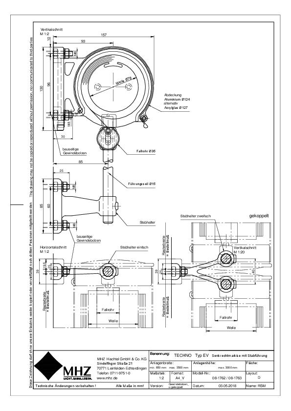 Technische Zeichnung pdf Edelstahl-Fassadenmarkisen TECHNO EV gekoppelt