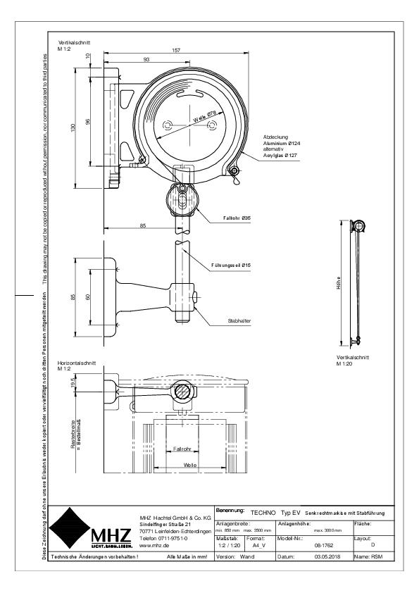 Technische Zeichnung pdf Edelstahl-Fassadenmarkisen TECHNO EV Wand