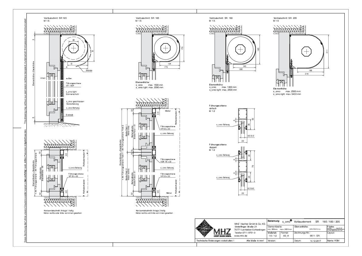 Technische Zeichnung pdf Metallbehang s_onro Vorbau SR